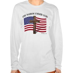 One Nation Under God Tee Shirts    •    Linda  from KY, Thank you for your purchase!   •   This design is available on t-shirts, hats, mugs, buttons, key chains and much more   •   Please check out our others designs at: www.zazzle.com/TsForJesus*