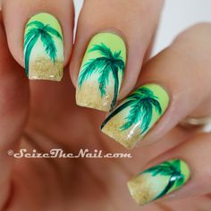 A fresh looking Palm Tree Nail Art design. The palm trees are painted in bright green polish as the background is in clouded yellow theme. It looks absolutely delightful. Beach Nail Art, Beach Nail Designs, Beach Nails, Nail Art Designs, Cute Nails, Pretty Nails, My Nails, Jamaica Nails, Uñas One Stroke