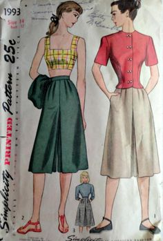 Sewing Pattern 1940's Simplicity 1993 Misses'