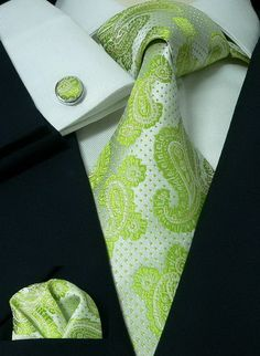 59G Bacrelli Wedding Lime Green 100% Silk Tie Set « Mens Silk Ties | Wedding Ties | Ascots | Best Bowties