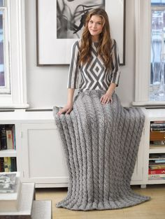 Classic Cabled Afghan, proudly Made in American with Lion Brand Hometown USA!