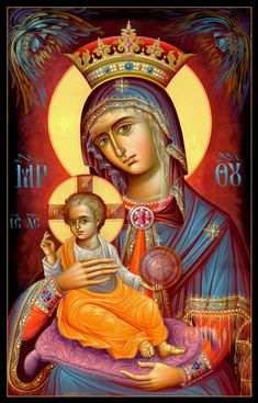 our lady of the blessed sacrament -beautiful icon. I wish I could find the artist though. Religious Images, Religious Icons, Religious Art, Byzantine Icons, Byzantine Art, Blessed Mother Mary, Blessed Virgin Mary, Madonna, Immaculée Conception