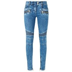 Balmain Skinny Biker Zip Jeans ($1,045) ❤ liked on Polyvore featuring jeans, mid-rise jeans, blue jeans, oversized jeans, skinny fit jeans and balmain
