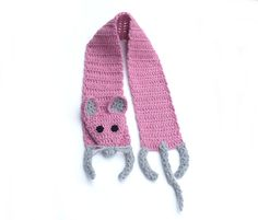 """Pink mouse Handmade soft Crochet scarf Animal scarf Pink grey yarn Children scarf For kids For baby Winter gift Very soft, nice and friendly small mouse — made by myself. It is made of pink, grey and black yarn, without any plastic or glass details - you dont need to bother about your child safety. Perfect gift for litlle girl!   Length: with legs and tail: 48 (122 cm), without head, legs and tail (only """"body""""): 40 (102 cm) Width: 4,7 (12 cm)   Handmade with love in a smoke-free house…"""