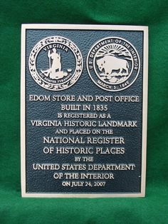 Bronze Plaque with Virginia Seal and Department of Interior Seal twice the history in one place - cast bronze plaque by Erie Landmark Company a division of Paul W. Zimmerman Foundries celebrating 75 years of plaques!   Find us on the web at www.erielandmark.com or place an order at info@erielandmark.com.