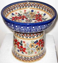 Elegant Polish Pottery Raised Cat  or Small Dog Dry Food Dish or Water Bowl - If your pet is a little bit spoiled, this is the one!