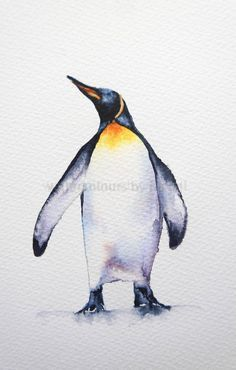 A Christmas painting step by step watercolours by rachel Penguin Watercolor, Watercolor Paintings Of Animals, Animal Paintings, Animal Watercolour, Watercolour Drawings, Bird Paintings, Digital Paintings, Watercolor Trees, Watercolor Portraits