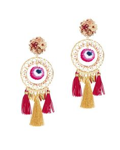 Mercedes Salazar Tassel Fringe Circle Earrings: Tassels drop from the embellished circular shape. 5 long. Intricate hand-work at post with clip back. For pierced ears. Comes in printed drawstring pouch. Made in ...