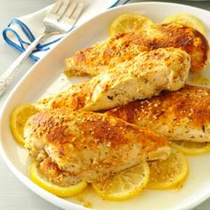 Mediterranean Baked Chicken with Lemon - michael wasn't thrilled with cinnamon in it, but I really liked it