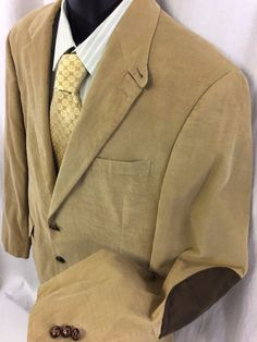 LAUREN Ralph Lauren Tan Sport Coat 42L Elbow Patches Leather Buttons Green Label #LaurenRalphLauren #TwoButton