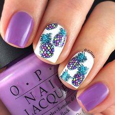 Purple pineapple nails