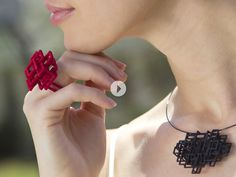 Melissa Borrell 3D Printed jewelry.Join the 3D Printing Conversation: http://www.fuelyourproductdesign.com/