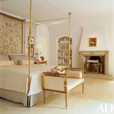 Statement Bedroom Sofa Ideas That Completely Steal The Scene Architectural Digest, Bedroom Sofa, Master Bedroom, Tuscan Bedroom, Bedroom Fireplace, Gold Bedroom, Bedroom Modern, Traditional Bedroom, Traditional Homes
