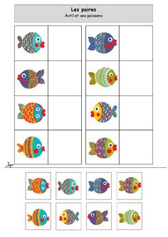 … The pairs: Avril and her fish - Montessori Activities, Preschool Worksheets, Infant Activities, Preschool Activities, File Folder Activities, Visual Learning, Kindergarten Centers, Pre Writing, Ocean Themes