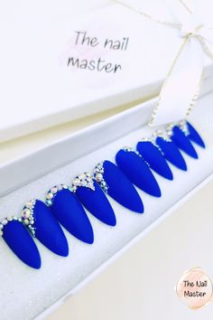 Available in various shapes and designs. Check out more unique press on nail designs on TheNailMaster.etsy.com ot simply click on the image to find out more. #pressonnails #nailart #naildesign #fakenails #falsenails #stickonnails #glueonnails #artificialnails Royal Blue Nails, Blue Matte Nails, Stick On Nails, Glue On Nails, Best Press On Nails, Blue Press, Shape Pictures, Nail Set, Artificial Nails