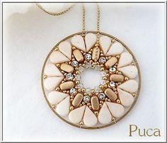 9f341e1bb09cd3 Pendentif Coeur Perles en verres Amos®, IOS® de Puca et Swarovski cristal  Mesh