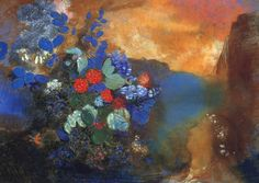 'Ophelia among the Flowers' is one of several compositions by French symbolist painter Odilon Redon Odilon Redon, Kunst Poster, Post Impressionism, Art Plastique, Banksy, Oeuvre D'art, Painting Inspiration, Art Forms, Les Oeuvres