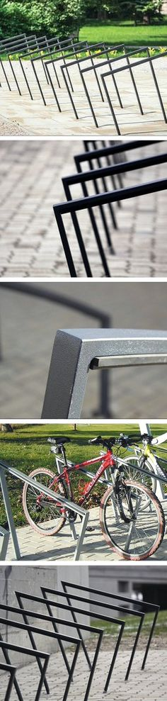 Edgetyre bike racks by mmcité combine metal and protective ruuber. Click image for full description and visit the slowottawa.ca boards >> http://www.pinterest.com/slowottawa/