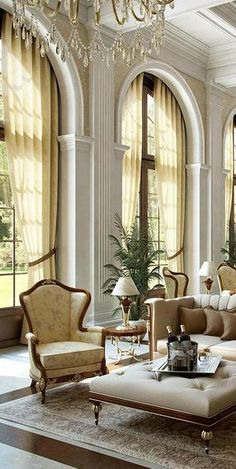 What lovely style! Tasteful living room! ~Grand Mansions, Castles, Dream Homes