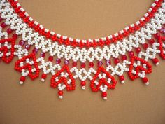Red-white beadwork ukrainian necklace with hearts, ukrainian jewelry,beaded statement necklace, seed bead necklace, gift for women Beaded Necklace Patterns, Beaded Statement Necklace, Seed Bead Necklace, Seed Bead Jewelry, Bead Jewellery, Seed Beads, Beading Tutorials, Beading Patterns, Pearl Crafts