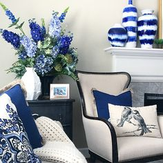 Looking to add a pop of color to your neutral decor? Indigo is a here to stay and a trend color for Use the entire range of periwinkle to navy to dress up you interiors and is a perfect addition to any decor style. Add interest to your fireplace man Blue And White Living Room, Living Room Decor Blue, Decor Room, Bedroom Decor, Blue Rooms, White Decor, Home And Living, Decor Styles, Home Goods