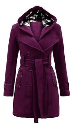 Purple Plum + Black Plaid Stylish Hooded Double-Breasted Long Sleeve Worsted Wool Winter Coat  Fashion