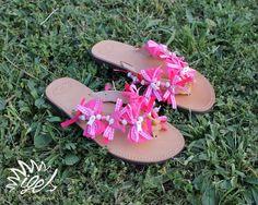 "Handmade Leather Sandals ""Rose Ocean"""