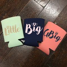 Keep your entire sorority family's drinks cold with these adorable customize koozies for big, little, GBig, and GGBig.