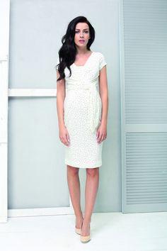 Sukienka ciążowa Holly New krem kropki S - 9fashion - Bluzki i sukienki ciążowe