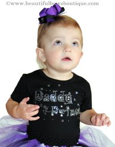 Sweetly wrapped around her little finger this purple and black tutu skirt is guaranteed to melt his heart. Custom tailored in vivid detail, it features black. Prince Girl, Black Tutu Skirt, Big Hair Bows, Rhinestone Shirts, Birthday Shirts, Purple And Black, Baby Dress, Tulle, Finger