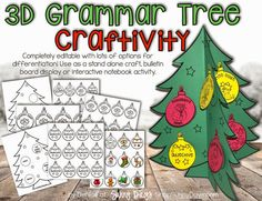 3D grammar tree - can be used as a free standing art project, interactive notebook, bulletin board display. Very versatile, cute and definitely academically focused.