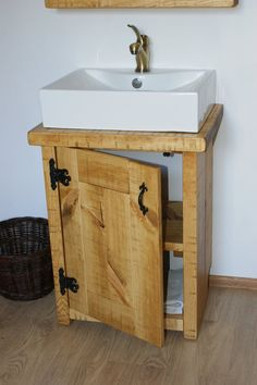 New Solid Wood Vanity Basin Unit. Handmade from chunky solid pine boards it has been planed ,sanded,stained and waxed with top quality Osmo Hardwax Oil to protect wood against watter and to enhance that lovely natural feel. Wooden Bathroom Vanity, Basin Sink Bathroom, Vanity Basin, Bathroom Vanity Units, Wood Vanity, Bathroom Furniture, Small Bathroom, Teak Bathroom, Wood Mirror