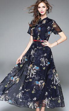 Elegant Big Hem Belted Short Sleeve Floral Print Maxi Dress