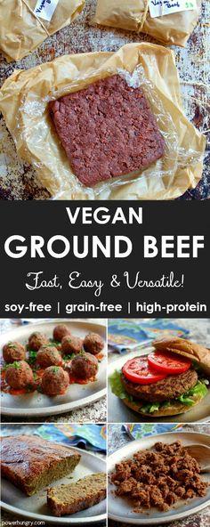 Vegan Ground Beef (Grain-Free, High-Protein, Soy-Free) - Vegetarisch - Past Vegan Ground Beef, Vegan Beef, Vegan Foods, Vegan Dishes, High Protein Vegan Meals, Ground Meat, Ground Venison, Ground Chicken, Ground Turkey