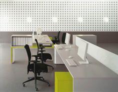 Tre white and green office desks