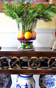 Citrus and Evergreen with blue and white... sweet and simple Holiday decor