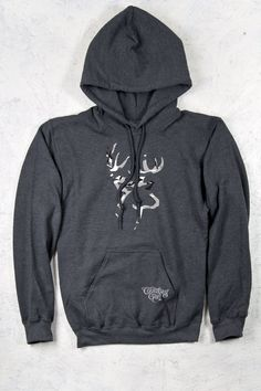 Country Girl® Grey Camo Deer Logo Relaxed Pullover Hoodie - Country Fashion Clothing