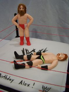 wwe wrestling cake, handmade fondant wrestlers
