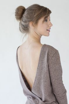 Light Brown Open Back Sweater
