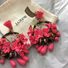 J.crew carnival earrings! New with tags !!! Color pink, very large earrings, completely stunning  J. Crew Jewelry Earrings