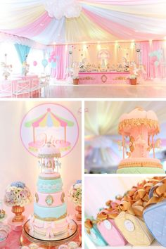 On the top of almost any child's wish list must be a carousel birthday party! Dumbo Birthday Party, Carousel Birthday Parties, Carousel Party, 1st Birthday Party For Girls, Carnival Themed Party, Girl Birthday Themes, Baby Girl Shower Themes, Circus Birthday, Birthday Party Decorations