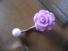 Lavender Rose Belly Button Ring- Navel Piercing Jewelry Rosebud Flower Bud Barbell Bar Stud Purple