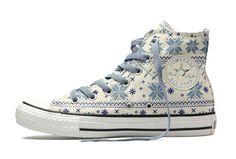 fcb519592c48 Converse Cotton Blue Snowflake Plaid Chuck Taylor All Star White Canvas High  Top Winter Wear Shoes