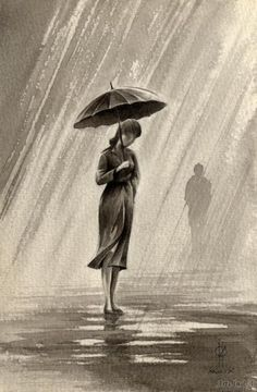 uzun hikaye: Fotoğraf – Keep up with the times. Sad Drawings, Mermaid Drawings, Dark Art Drawings, Pencil Art Drawings, Art Drawings Sketches, Rain Painting, Watercolor Paintings, Pencil Sketches Landscape, Realistic Sketch