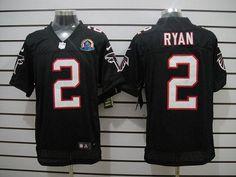 Nike Atlanta Falcons #2 Matt Ryan Black Alternate With Hall of Fame 50th Patch Men's Stitched NFL Elite Jersey