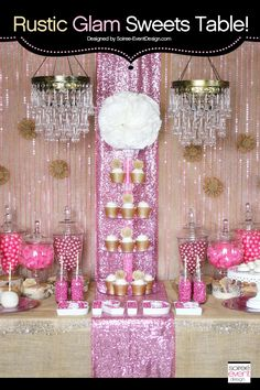 | Trend Alert:  Rustic Glam Pink and Gold Sweets Table | http://soiree-eventdesign.com