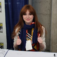 Best KnittySpotting Ever? | knittyBlog  Karen Gilliam who plays Amy Pond on Doctor Who got a TARDIS shawl from a knitter at Comic-Con.  I don't know who was luckier.. Karen, or Lisa who actually got to go to Comic-Con