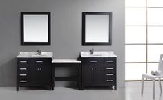 Keep your master bathroom looking functional and tidy with the Design Element London Double Bathroom Vanity with Makeup table - Espresso . Modern Vanity, Modern Bathroom, Master Bathroom, Bathroom Vanities, Bathroom Ideas, Best Tiny House, Tiny House Plans, Single Sink Vanity, Vanity Set
