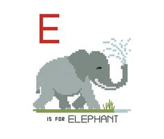 Elephant, Dumbo, The Jungle Book, Africa, safari, cross stitch pattern, zoo animals, alphabet flash cards, personalized baby gift, DIY project, modern cross stitch, contemporary embroidery, needlepoint, sewing