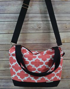Purse in Coral Cotton Decor weight Made in America by DarbyMack
